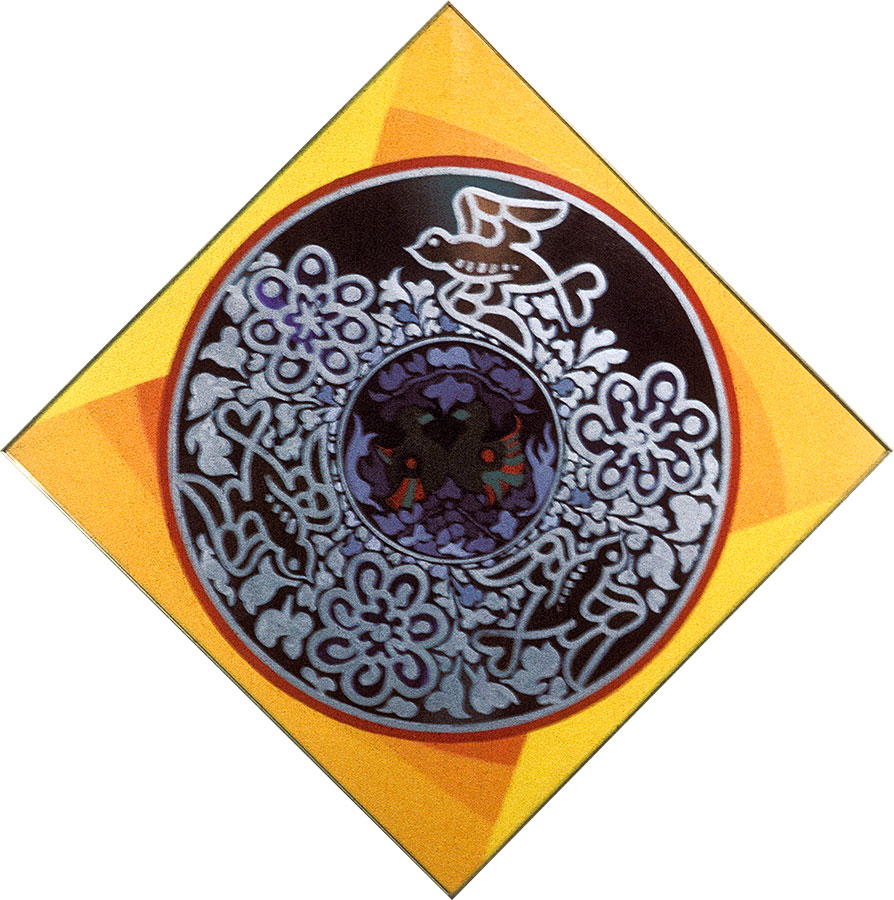 Fruit in a Dish 12 – ornate black plate, framed at 45 degree angle.