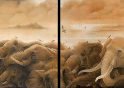 Elephants 04 (diptych)
